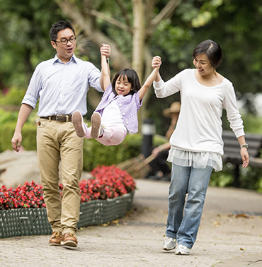 A family enjoys themselves walking after a visit to their family dentist in Midland, TX
